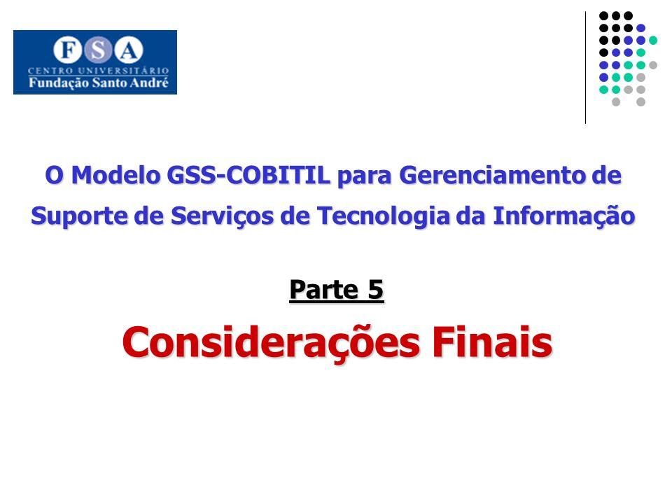 O Modelo GSS-COBITIL para Gerenciamento de Suporte de Serviços de Tecnologia da Informação Parte 5 Considerações Finais