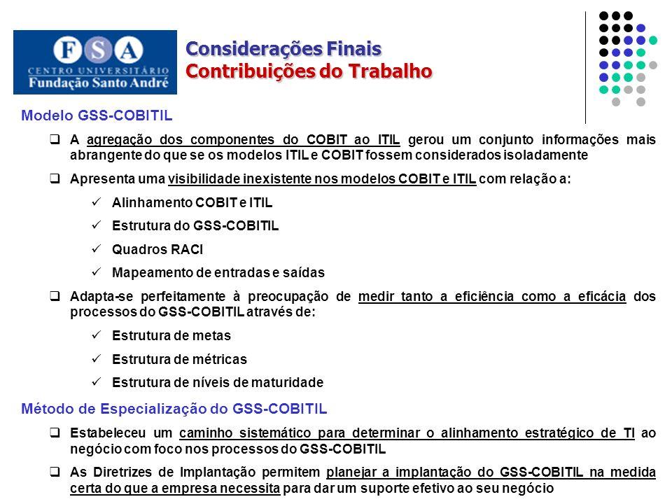 Considerações Finais Contribuições do Trabalho Modelo GSS-COBITIL A agregação dos componentes do COBIT ao ITIL gerou um conjunto informações mais abrangente do que se os modelos ITIL e COBIT fossem considerados isoladamente Apresenta uma visibilidade inexistente nos modelos COBIT e ITIL com relação a: Alinhamento COBIT e ITIL Estrutura do GSS-COBITIL Quadros RACI Mapeamento de entradas e saídas Adapta-se perfeitamente à preocupação de medir tanto a eficiência como a eficácia dos processos do GSS-COBITIL através de: Estrutura de metas Estrutura de métricas Estrutura de níveis de maturidade Método de Especialização do GSS-COBITIL Estabeleceu um caminho sistemático para determinar o alinhamento estratégico de TI ao negócio com foco nos processos do GSS-COBITIL As Diretrizes de Implantação permitem planejar a implantação do GSS-COBITIL na medida certa do que a empresa necessita para dar um suporte efetivo ao seu negócio