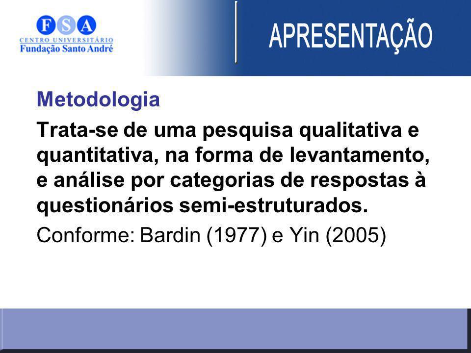 Metodologia Trata-se de uma pesquisa qualitativa e quantitativa, na forma de levantamento, e análise por categorias de respostas à questionários semi-estruturados.