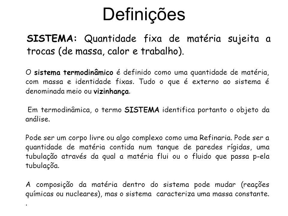 Definições SISTEMA: Quantidade fixa de matéria sujeita a trocas (de massa, calor e trabalho). O sistema termodinâmico é definido como uma quantidade d