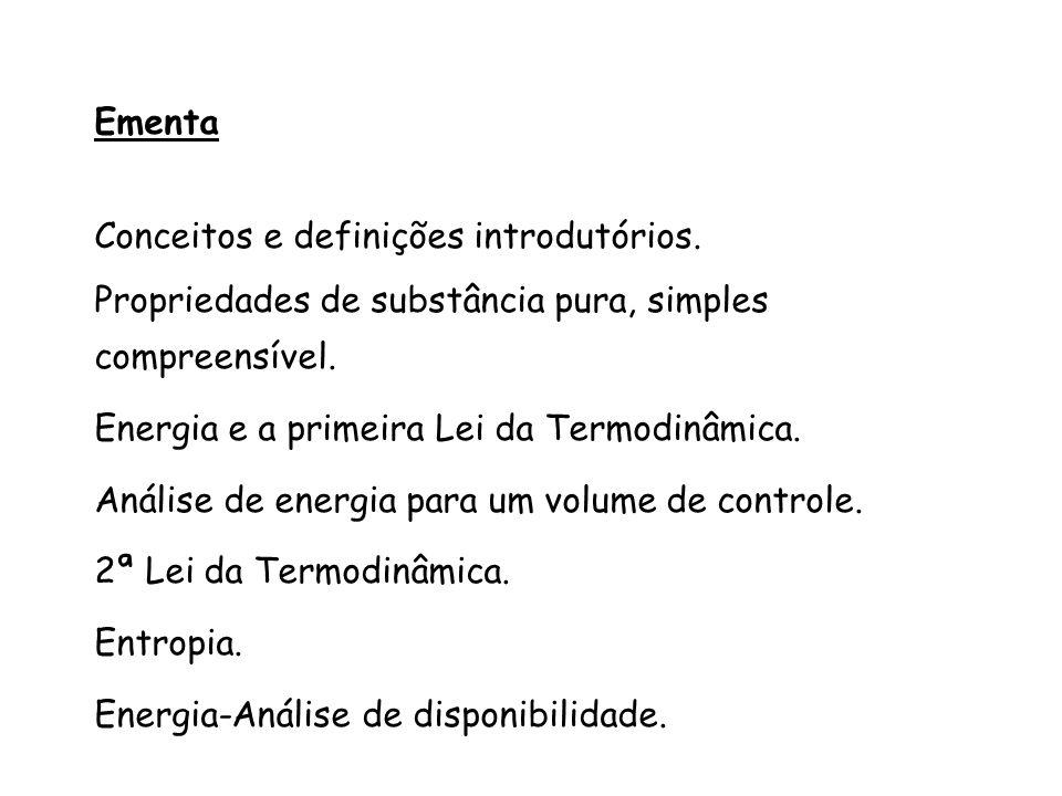 Ementa Conceitos e definições introdutórios. Propriedades de substância pura, simples compreensível. Energia e a primeira Lei da Termodinâmica. Anális