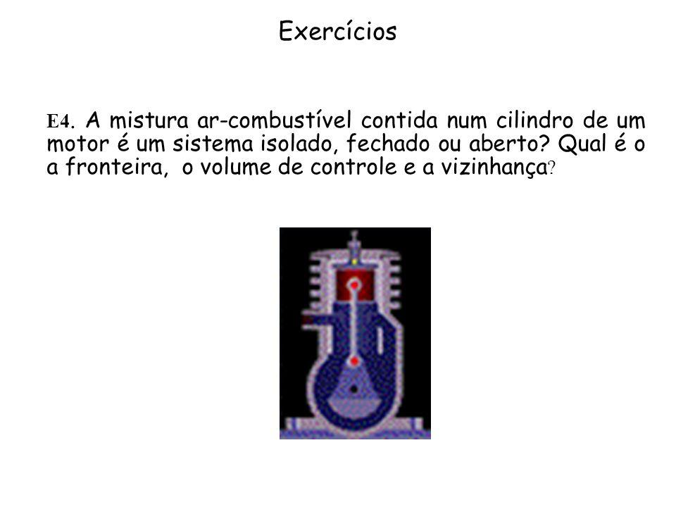 Exercícios E4. A mistura ar-combustível contida num cilindro de um motor é um sistema isolado, fechado ou aberto? Qual é o a fronteira, o volume de co