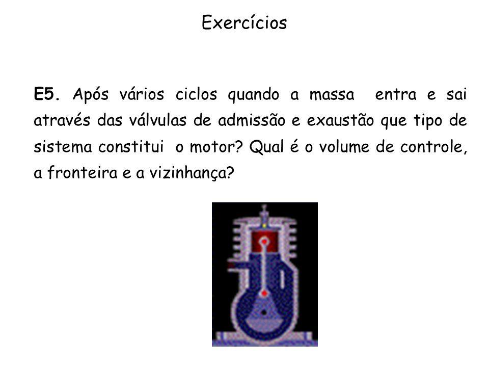 Exercícios E5. Após vários ciclos quando a massa entra e sai através das válvulas de admissão e exaustão que tipo de sistema constitui o motor? Qual é