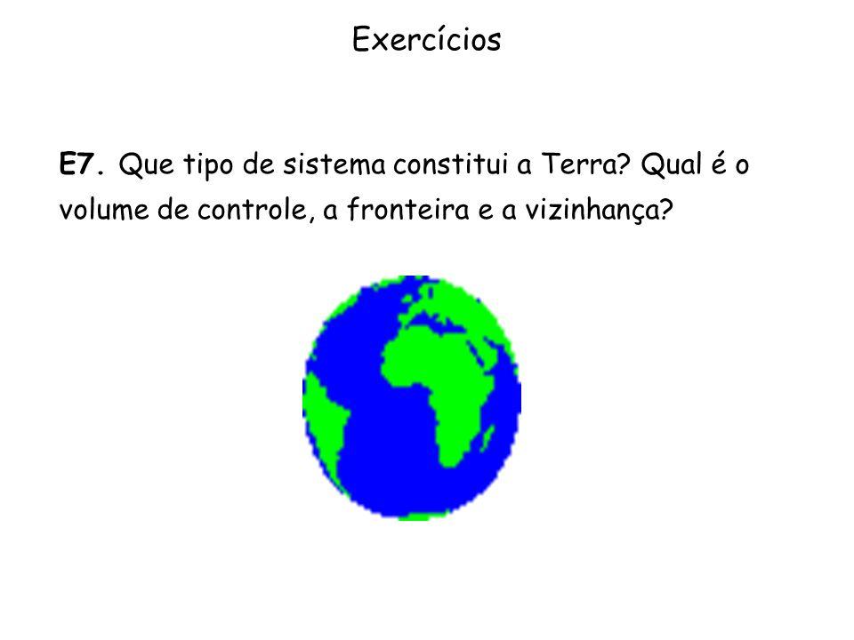 Exercícios E7. Que tipo de sistema constitui a Terra? Qual é o volume de controle, a fronteira e a vizinhança?