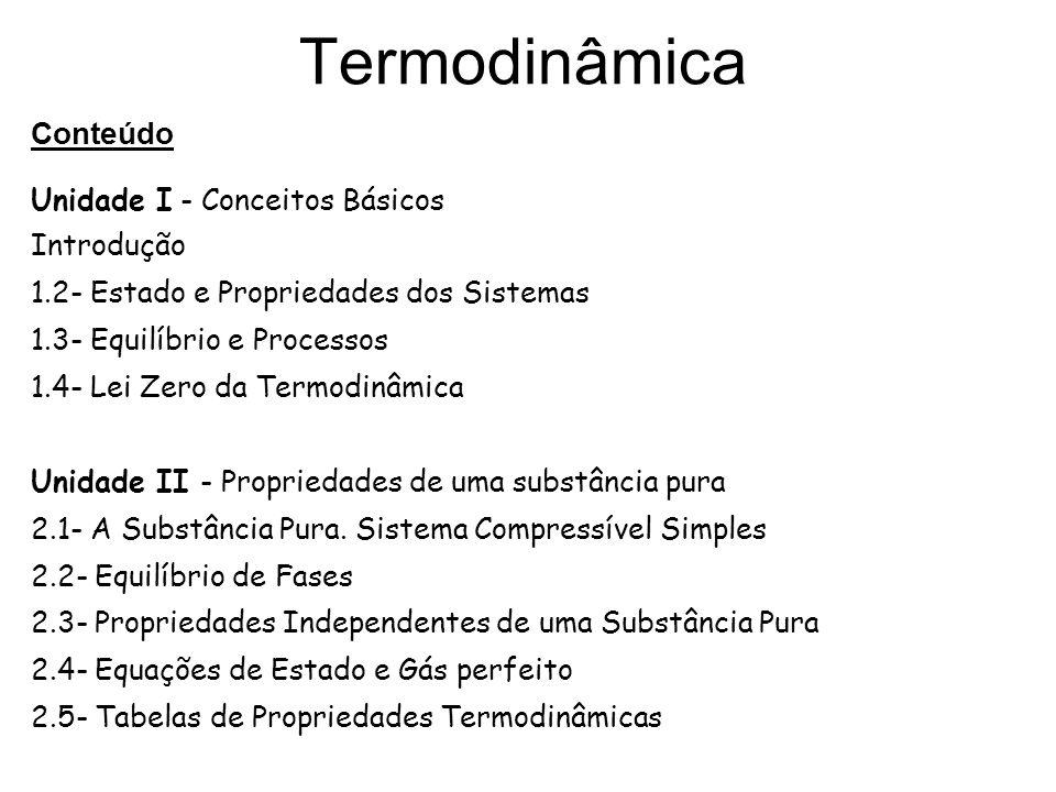 Termodinâmica Unidade III - Trabalho e Calor 3.1- Conceitos e Unidades de Trabalho e Energia 3.2- Trabalho da Variação de Fronteiras num Sistema Compressível 3.3- Considerações sobre Trabalho 3.4- Conceitos e Unidades de Calor 3.5- Relações entre Calor e Trabalho Unidade IV - Primeira Lei da Termodinâmica 4.1- Primeira Lei da Termodinâmica para um Sistema 4.2- Energia Interna 4.3- Entalpia 4.4- Calor Específico, Energia Interna e Entalpia 4.5- Primeira Lei da Termodinâmica para Sistemas em Fluxo 4.6- Primeira Lei da Termodinâmica para um Volume de Controle 4.7- Processos em Regime Permanente e Uniforme 4.8- O Ciclo de Carnot