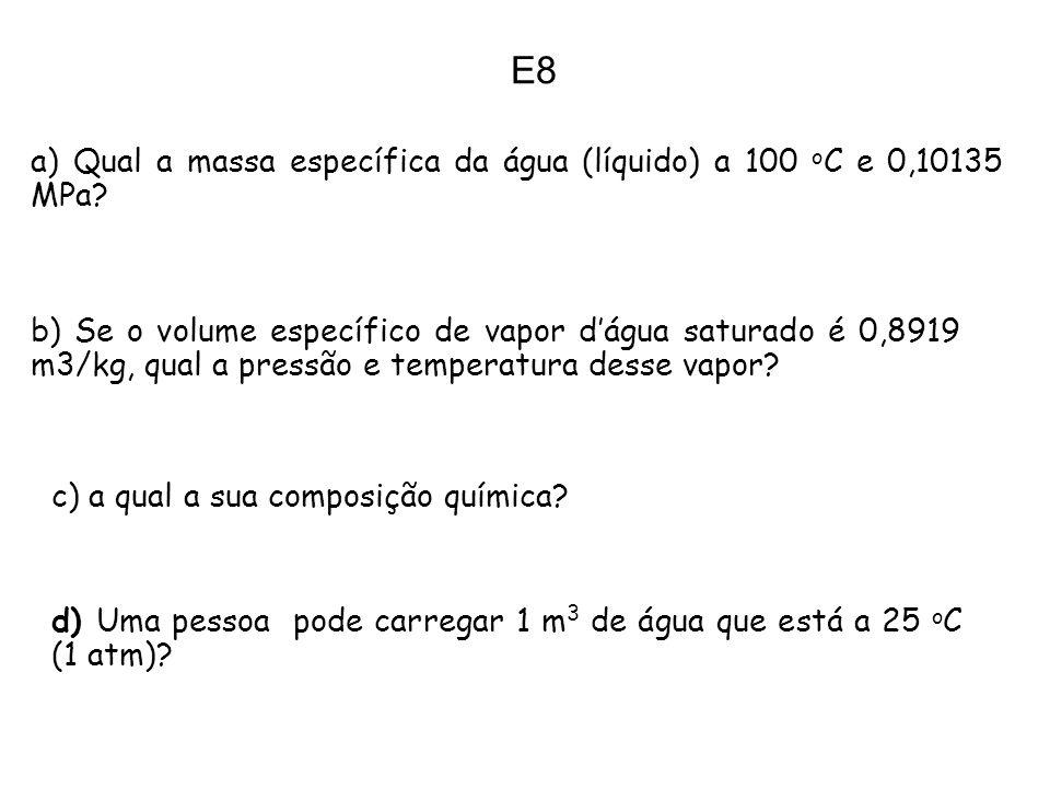 E8 a) Qual a massa específica da água (líquido) a 100 o C e 0,10135 MPa? b) Se o volume específico de vapor dágua saturado é 0,8919 m3/kg, qual a pres