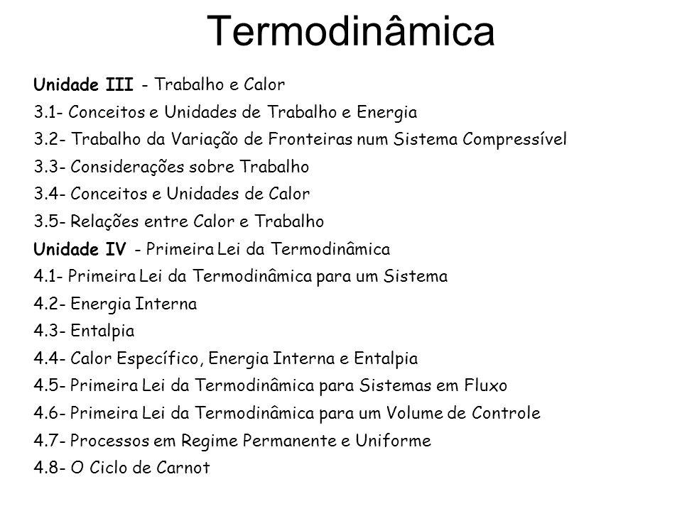 Termodinâmica Unidade III - Trabalho e Calor 3.1- Conceitos e Unidades de Trabalho e Energia 3.2- Trabalho da Variação de Fronteiras num Sistema Compr