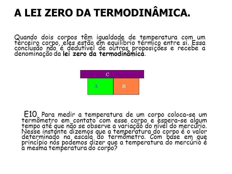A LEI ZERO DA TERMODINÂMICA. Quando dois corpos têm igualdade de temperatura com um terceiro corpo, eles estão em equilíbrio térmico entre si. Essa co