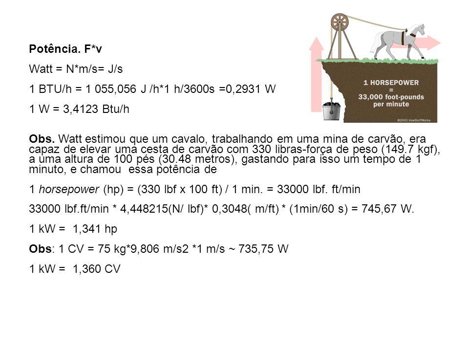 Potência. F*v Watt = N*m/s= J/s 1 BTU/h = 1 055,056 J /h*1 h/3600s =0,2931 W 1 W = 3,4123 Btu/h Obs. Watt estimou que um cavalo, trabalhando em uma mi