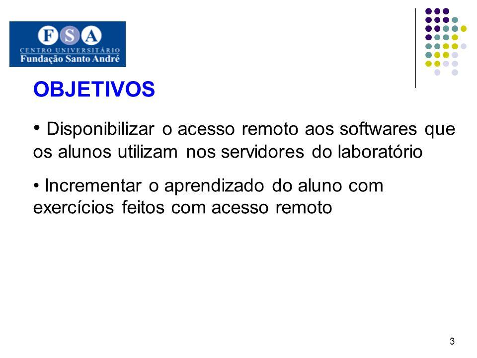 OBJETIVOS Disponibilizar o acesso remoto aos softwares que os alunos utilizam nos servidores do laboratório Incrementar o aprendizado do aluno com exe