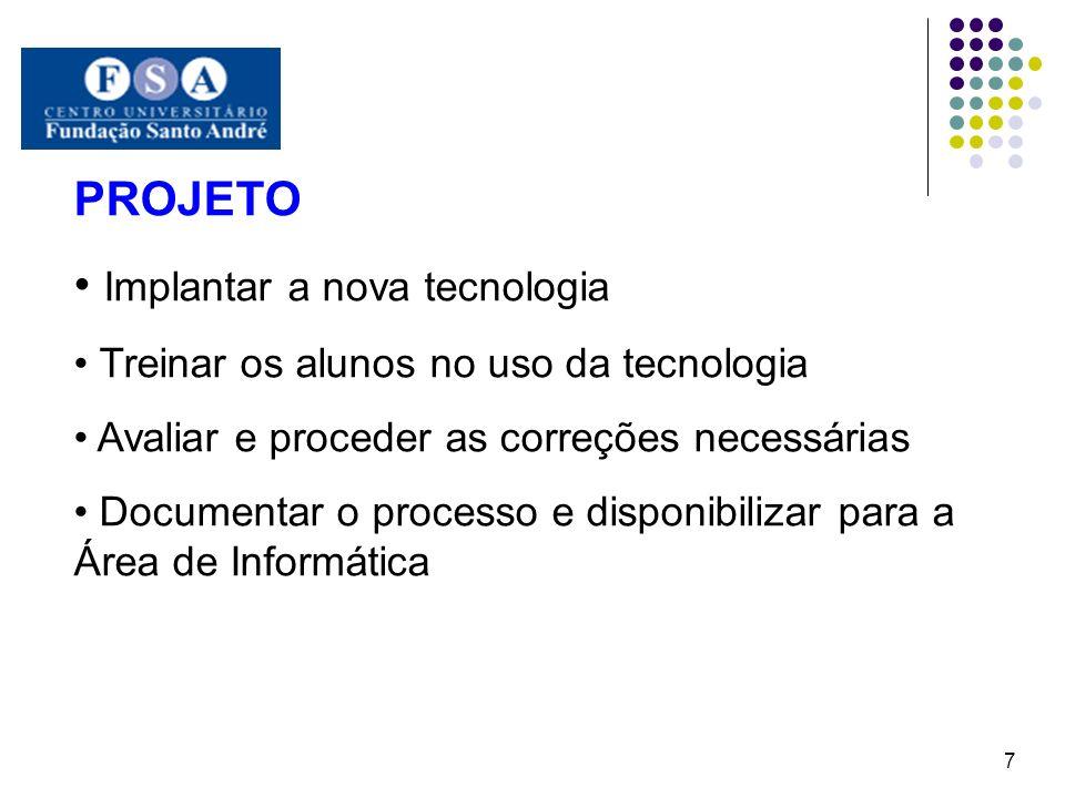 PROJETO Implantar a nova tecnologia Treinar os alunos no uso da tecnologia Avaliar e proceder as correções necessárias Documentar o processo e disponi
