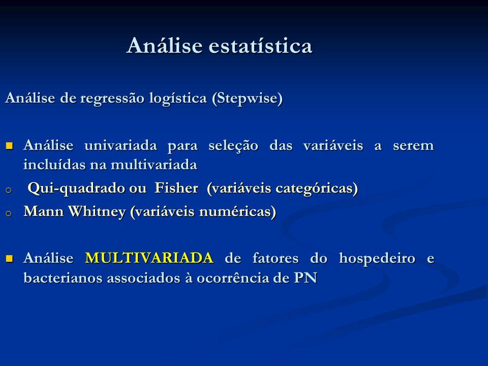 Análise estatística Análise de regressão logística (Stepwise) Análise univariada para seleção das variáveis a serem incluídas na multivariada Análise