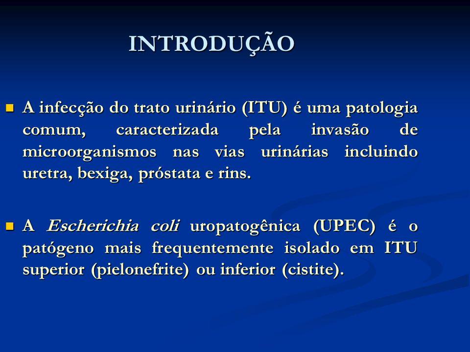 INTRODUÇÃO A infecção do trato urinário (ITU) é uma patologia comum, caracterizada pela invasão de microorganismos nas vias urinárias incluindo uretra