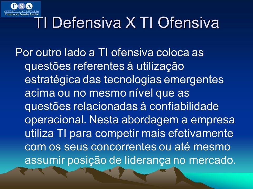 TI Defensiva X TI Ofensiva Por outro lado a TI ofensiva coloca as questões referentes à utilização estratégica das tecnologias emergentes acima ou no