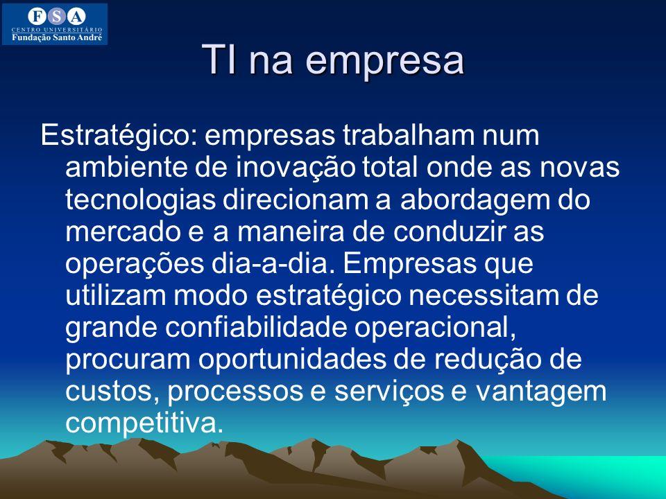 TI na empresa Estratégico: empresas trabalham num ambiente de inovação total onde as novas tecnologias direcionam a abordagem do mercado e a maneira d