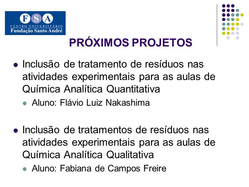 PRÓXIMOS PROJETOS Inclusão de tratamento de resíduos nas atividades experimentais para as aulas de Química Analítica Quantitativa Aluno: Flávio Luiz N