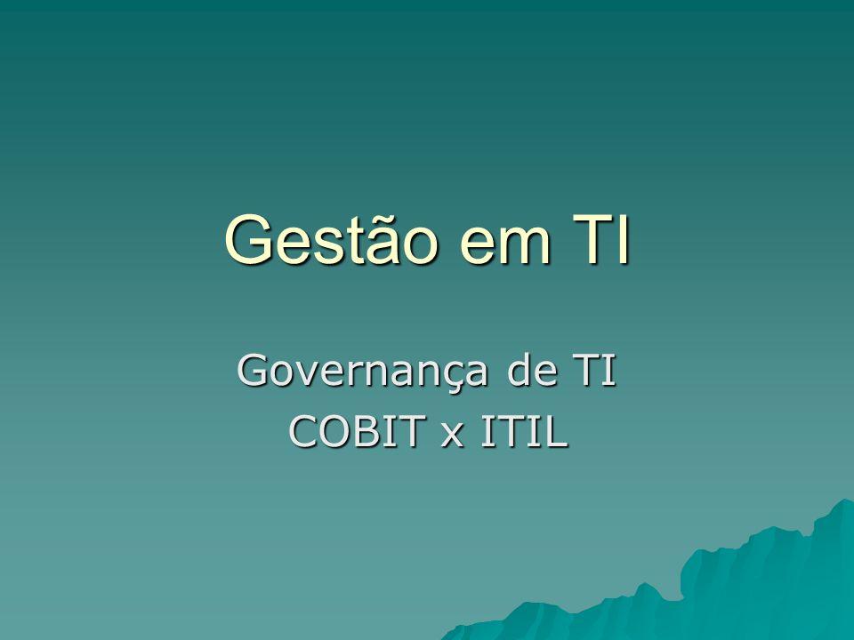 Gestão em TI Governança de TI COBIT x ITIL