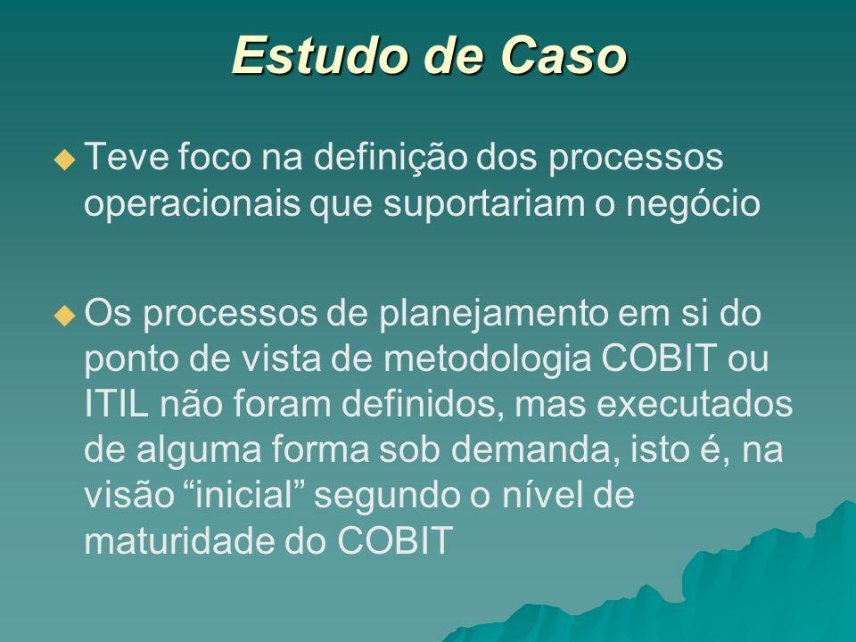 Estudo de Caso Teve foco na definição dos processos operacionais que suportariam o negócio Os processos de planejamento em si do ponto de vista de met