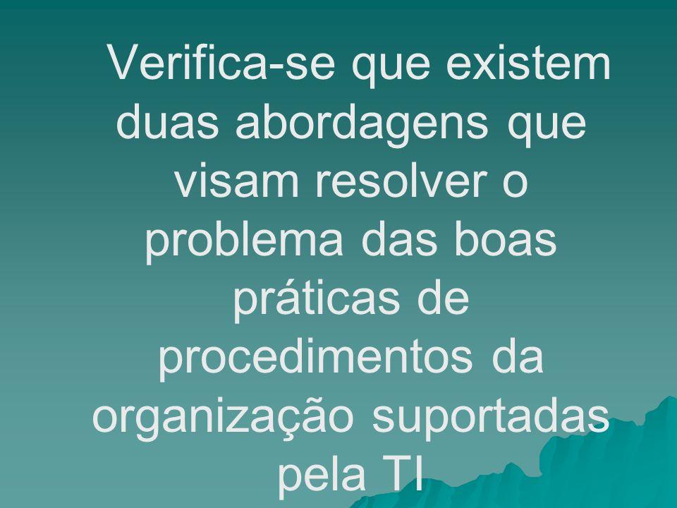 Verifica-se que existem duas abordagens que visam resolver o problema das boas práticas de procedimentos da organização suportadas pela TI