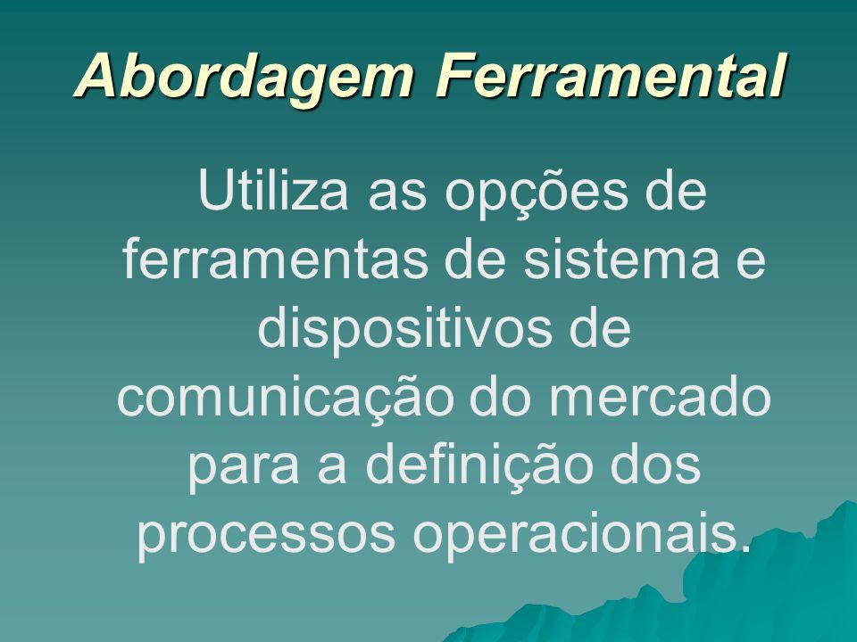 Abordagem Ferramental Utiliza as opções de ferramentas de sistema e dispositivos de comunicação do mercado para a definição dos processos operacionais