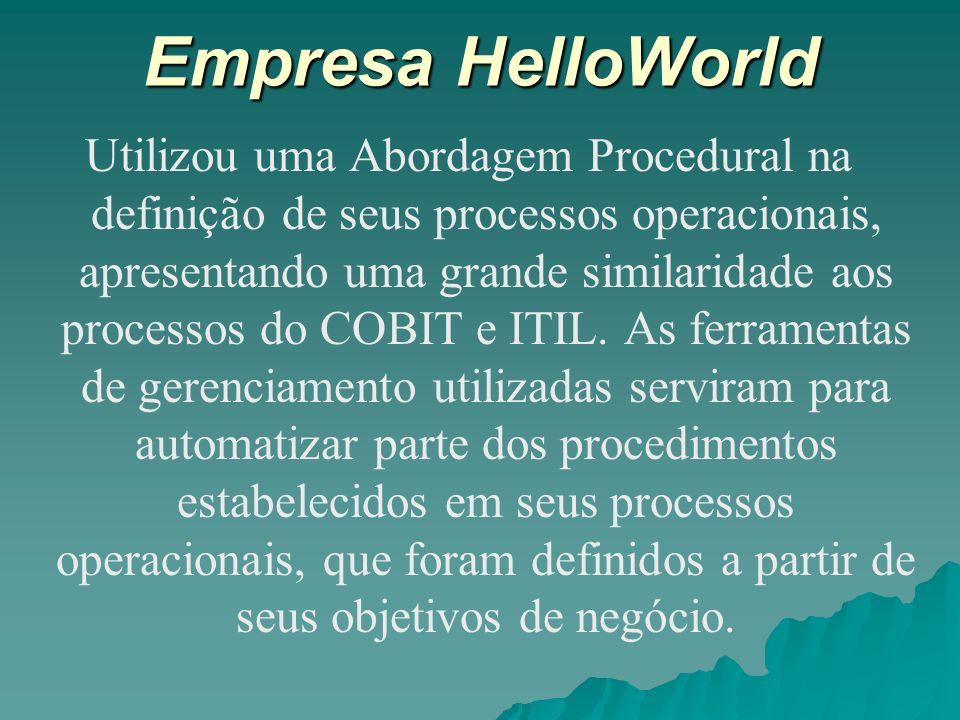Empresa HelloWorld Utilizou uma Abordagem Procedural na definição de seus processos operacionais, apresentando uma grande similaridade aos processos d