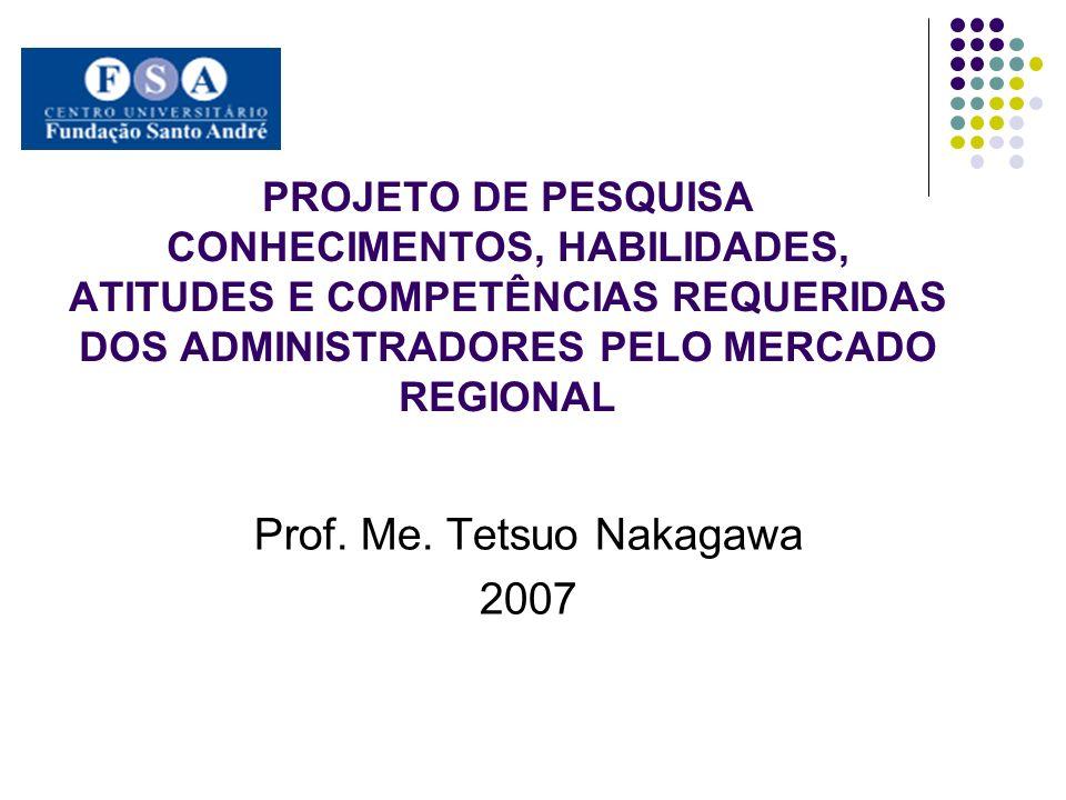 PROJETO DE PESQUISA CONHECIMENTOS, HABILIDADES, ATITUDES E COMPETÊNCIAS REQUERIDAS DOS ADMINISTRADORES PELO MERCADO REGIONAL Prof. Me. Tetsuo Nakagawa