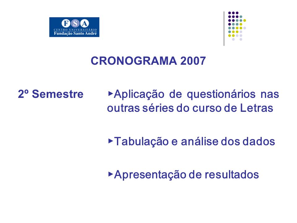 CRONOGRAMA 2007 2º Semestre Aplicação de questionários nas outras séries do curso de Letras Tabulação e análise dos dados Apresentação de resultados