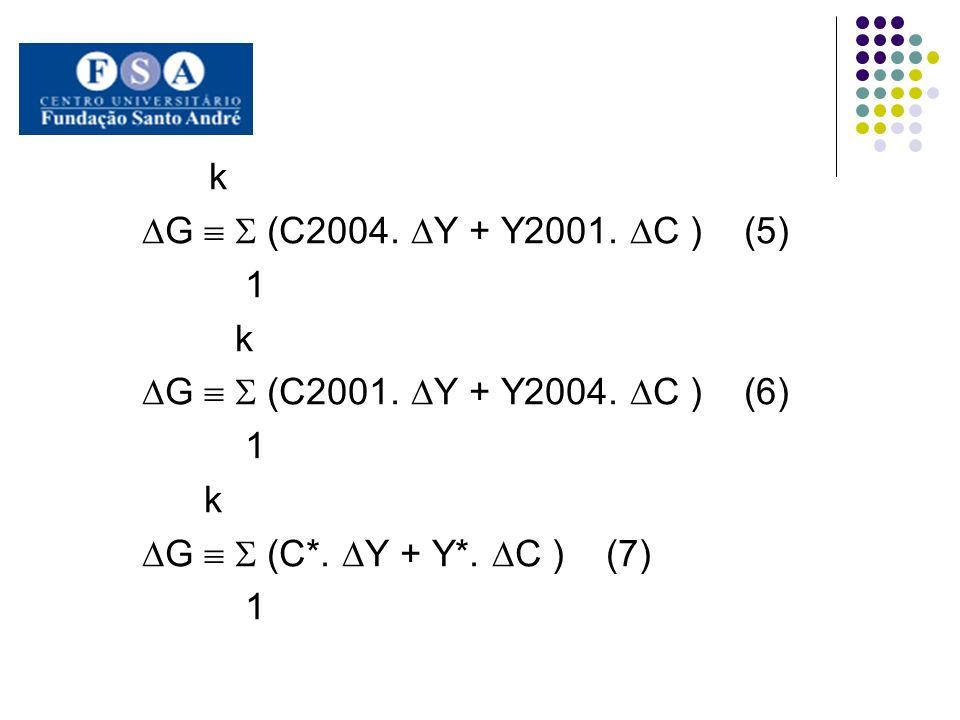 k G (C2004. Y + Y2001. C ) (5) 1 k G (C2001. Y + Y2004. C ) (6) 1 k G (C*. Y + Y*. C ) (7) 1
