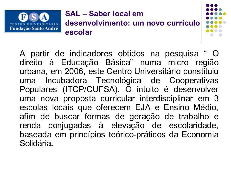 SAL – Saber local em desenvolvimento: um novo currículo escolar A partir de indicadores obtidos na pesquisa O direito à Educação Básica numa micro reg