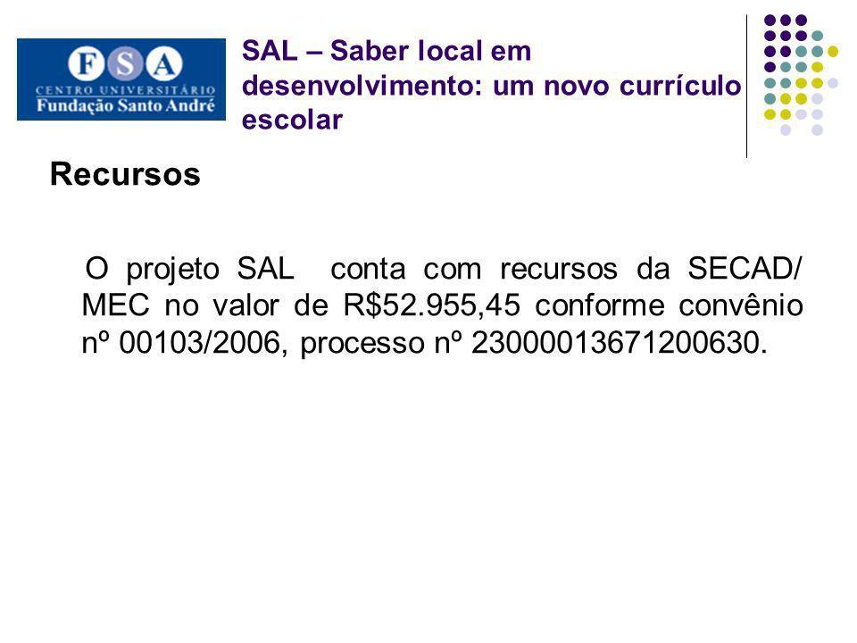 SAL – Saber local em desenvolvimento: um novo currículo escolar Recursos O projeto SAL conta com recursos da SECAD/ MEC no valor de R$52.955,45 confor