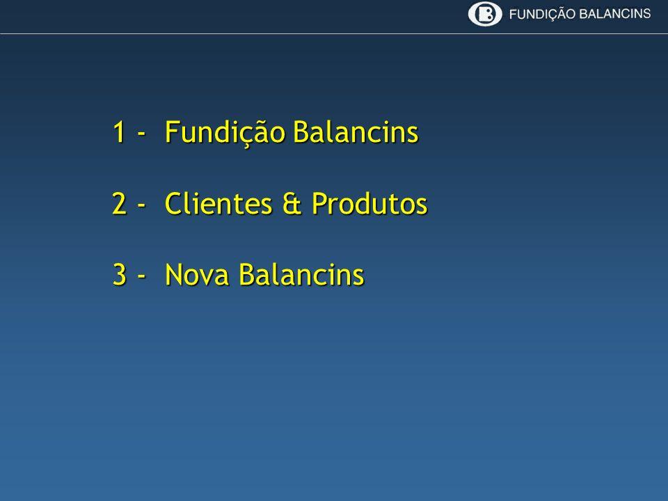 1 - Fundição Balancins 1 - Fundição Balancins 2 - Clientes & Produtos 2 - Clientes & Produtos 3 - Nova Balancins 3 - Nova Balancins