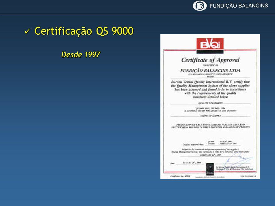 Certificação QS 9000 Certificação QS 9000 Desde 1997
