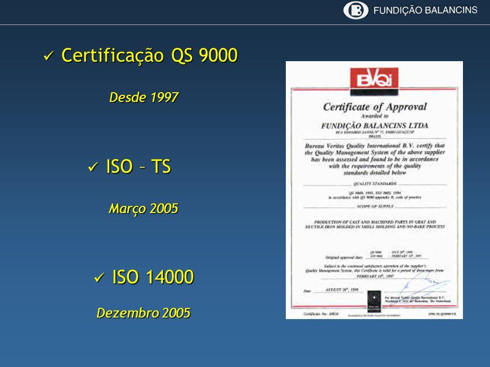 Certificação QS 9000 Certificação QS 9000 Desde 1997 ISO – TS ISO – TS Março 2005 ISO 14000 ISO 14000 Dezembro 2005