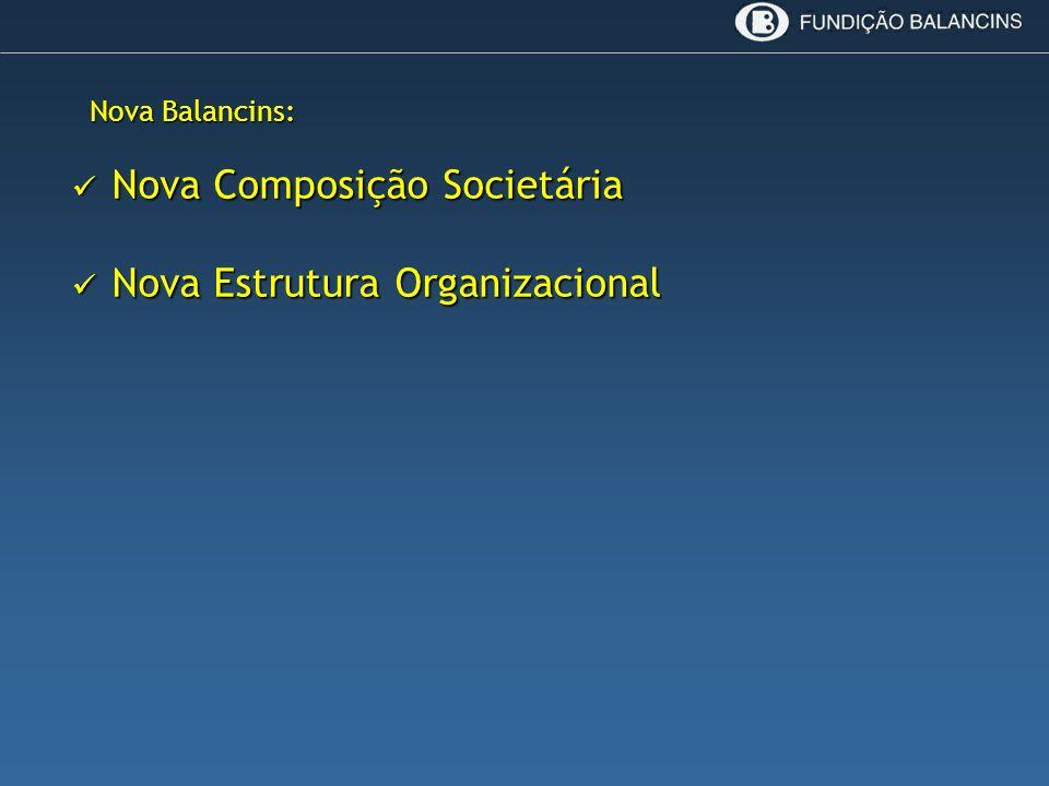 Nova Balancins: Nova Composição Societária Nova Composição Societária Nova Estrutura Organizacional Nova Estrutura Organizacional