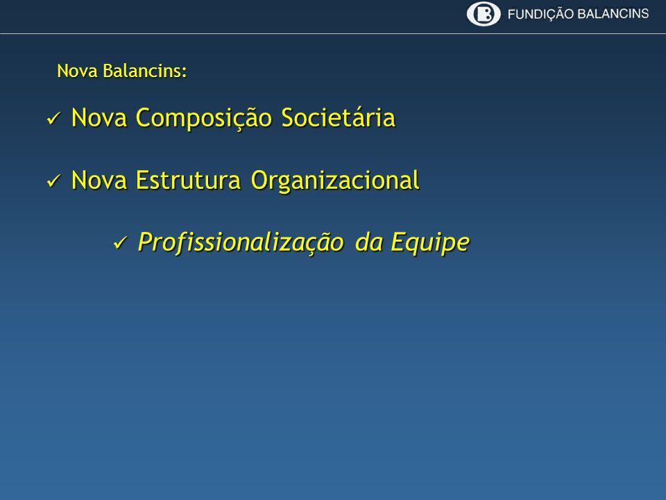 Nova Balancins: Nova Composição Societária Nova Composição Societária Nova Estrutura Organizacional Nova Estrutura Organizacional Profissionalização d