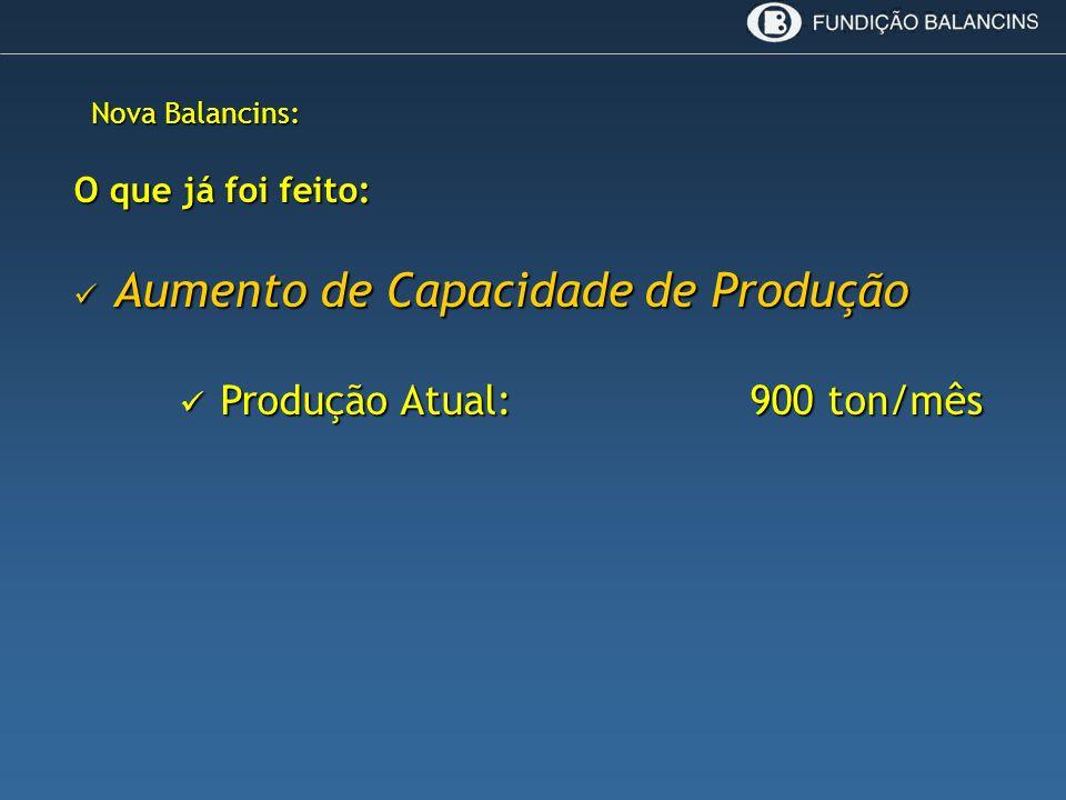 Nova Balancins: O que já foi feito: Aumento de Capacidade de Produção Aumento de Capacidade de Produção Produção Atual: 900 ton/mês Produção Atual: 90