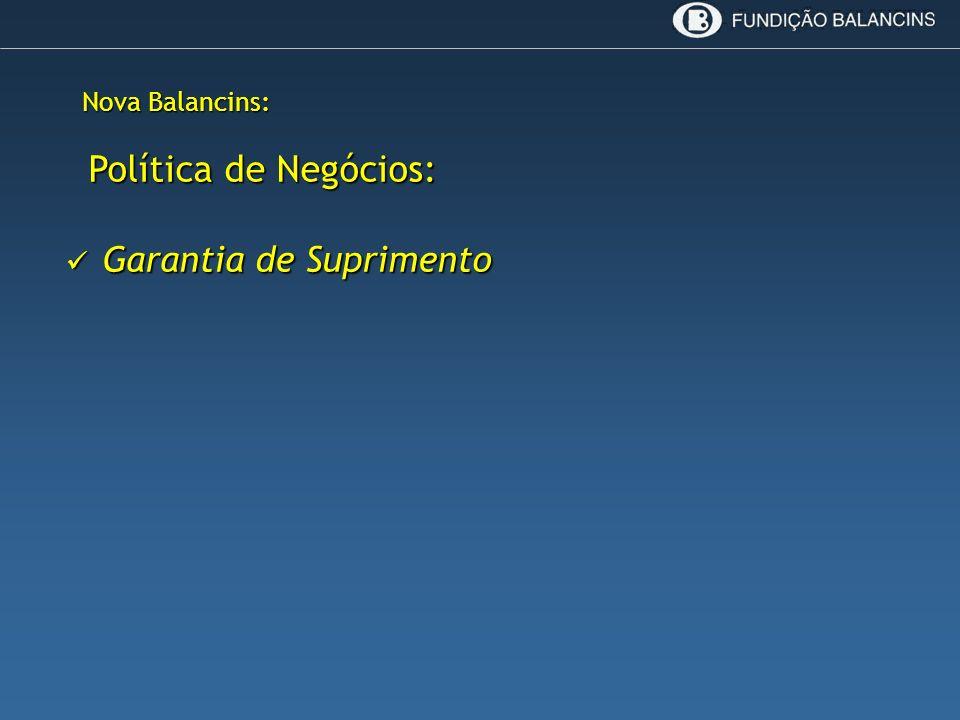 Nova Balancins: Política de Negócios: Política de Negócios: Garantia de Suprimento Garantia de Suprimento