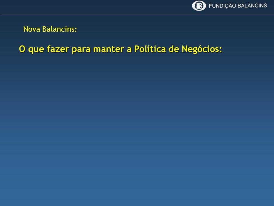 Nova Balancins: O que fazer para manter a Política de Negócios: