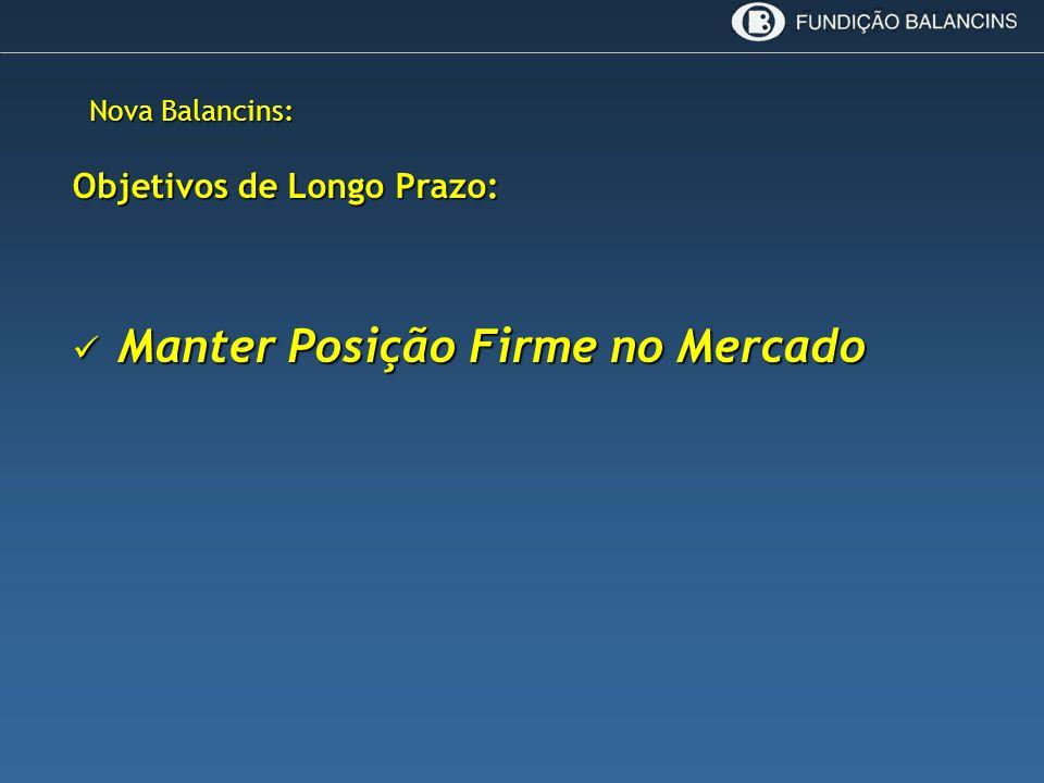 Nova Balancins: Objetivos de Longo Prazo: Manter Posição Firme no Mercado Manter Posição Firme no Mercado