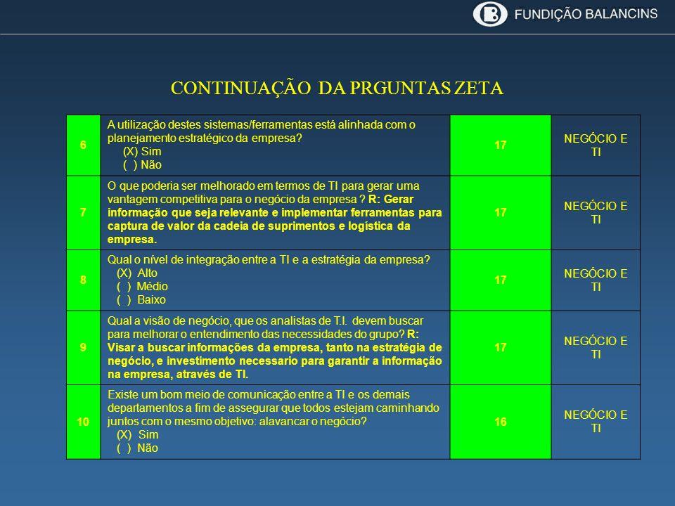 CONTINUAÇÃO DA PRGUNTAS ZETA 6 A utilização destes sistemas/ferramentas está alinhada com o planejamento estratégico da empresa? (X) Sim ( ) Não 17 NE