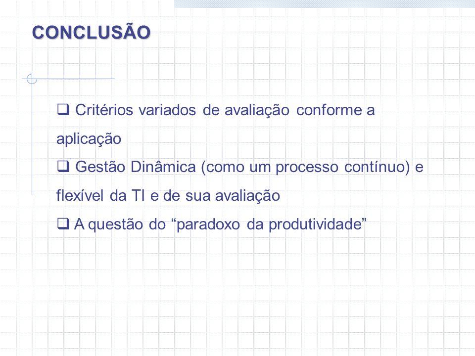 CONCLUSÃO Critérios variados de avaliação conforme a aplicação Gestão Dinâmica (como um processo contínuo) e flexível da TI e de sua avaliação A quest