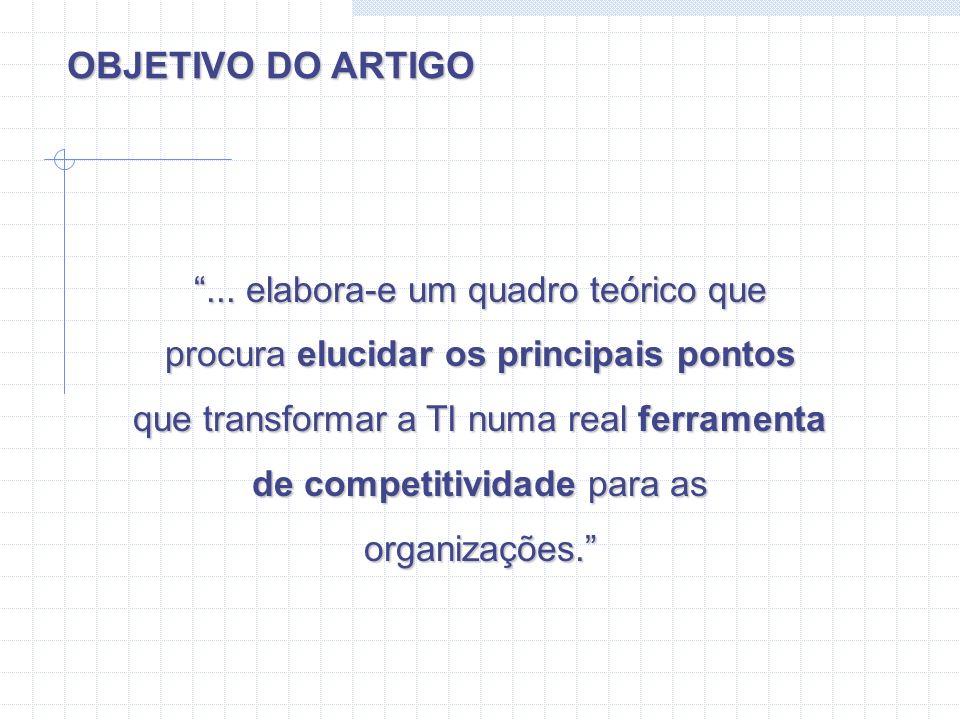... elabora-e um quadro teórico que procura elucidar os principais pontos que transformar a TI numa real ferramenta de competitividade para as organiz