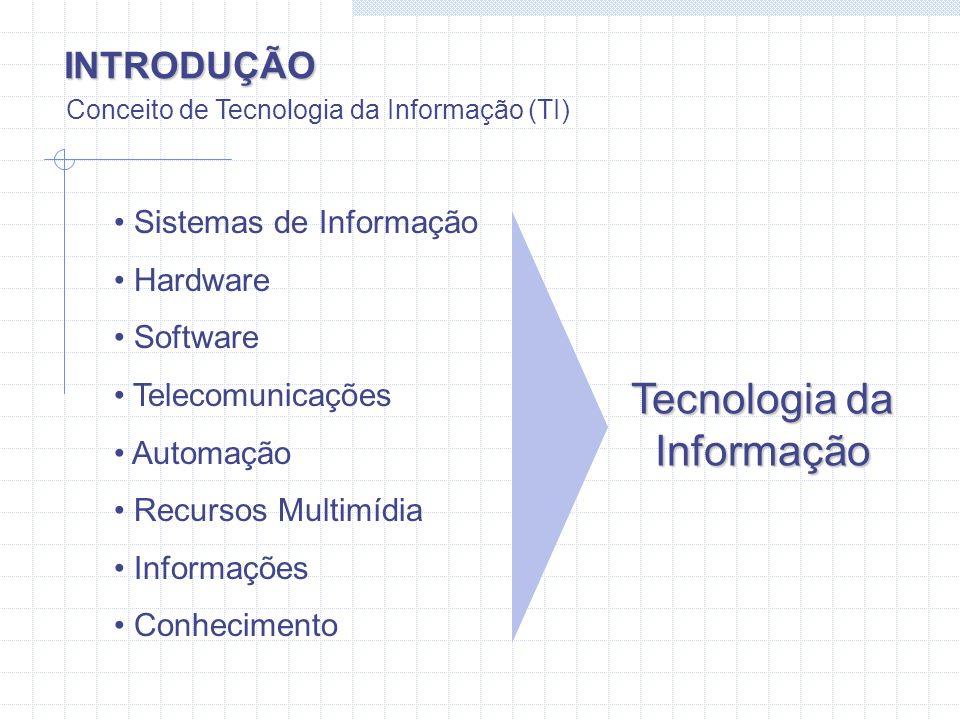 INTRODUÇÃO Conceito de Tecnologia da Informação (TI) Sistemas de Informação Hardware Software Telecomunicações Automação Recursos Multimídia Informaçõ