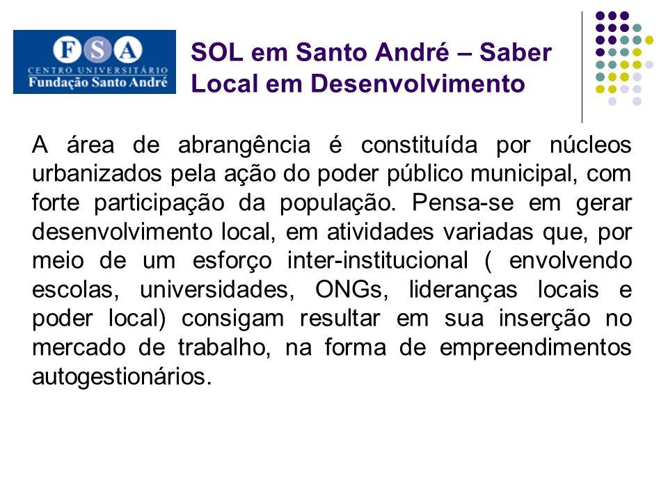 SOL em Santo André – Saber Local em Desenvolvimento A área de abrangência é constituída por núcleos urbanizados pela ação do poder público municipal,