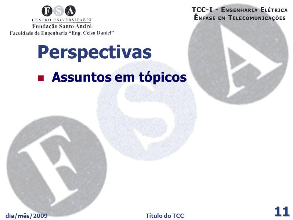 dia/mês/2009Título do TCC 11 Perspectivas Assuntos em tópicos