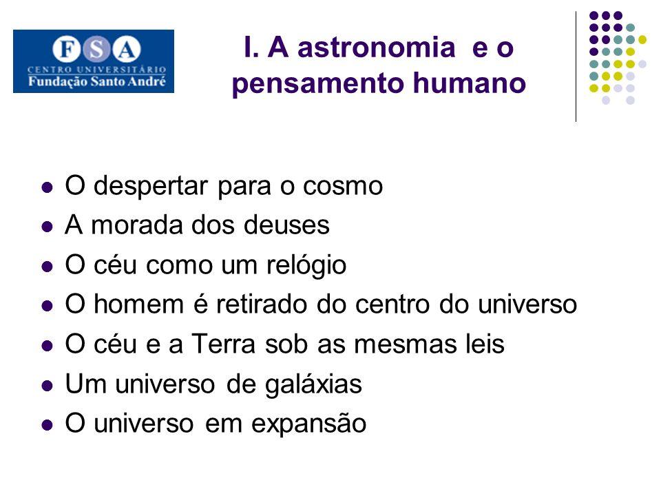 I. A astronomia e o pensamento humano O despertar para o cosmo A morada dos deuses O céu como um relógio O homem é retirado do centro do universo O cé