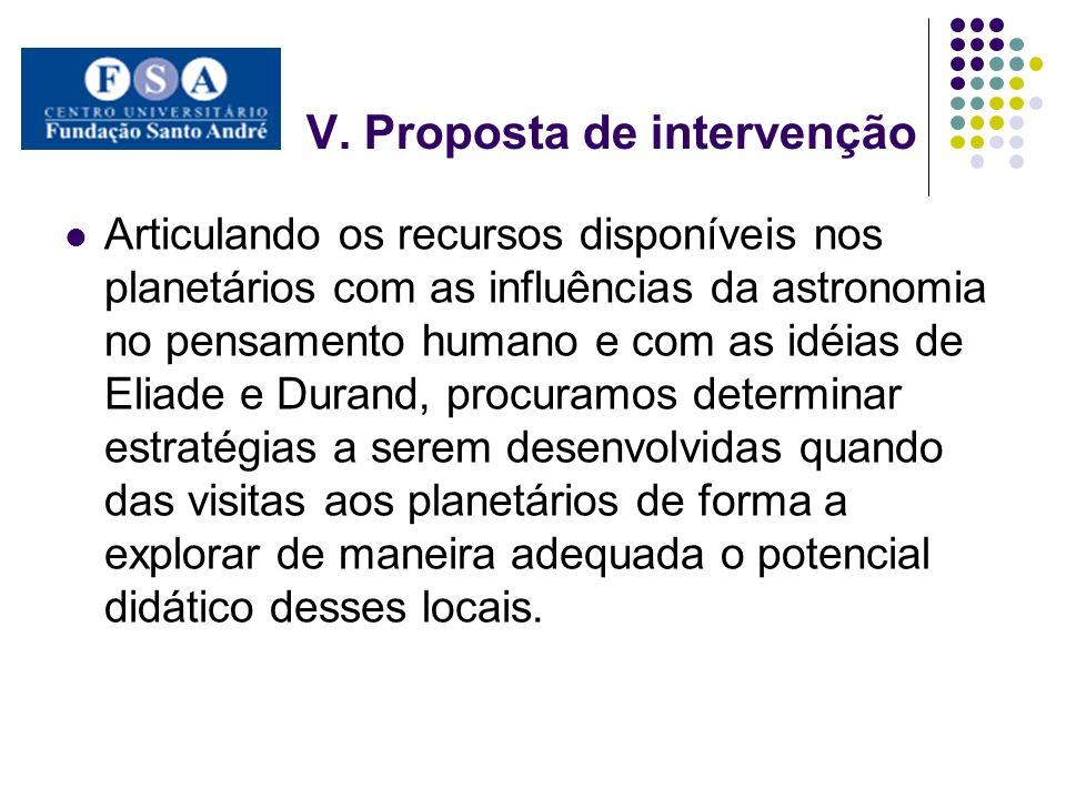V. Proposta de intervenção Articulando os recursos disponíveis nos planetários com as influências da astronomia no pensamento humano e com as idéias d