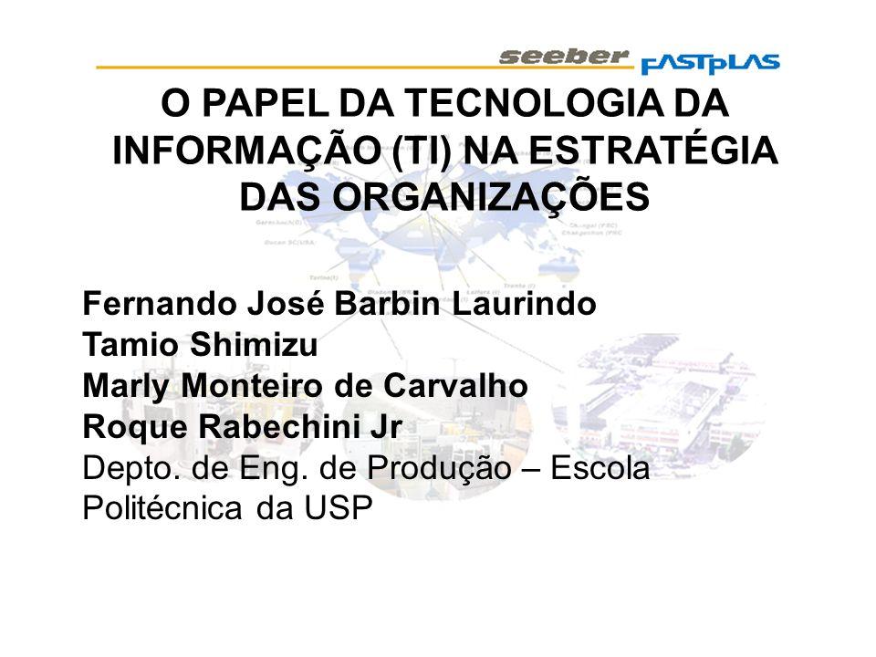 O PAPEL DA TECNOLOGIA DA INFORMAÇÃO (TI) NA ESTRATÉGIA DAS ORGANIZAÇÕES Fernando José Barbin Laurindo Tamio Shimizu Marly Monteiro de Carvalho Roque R