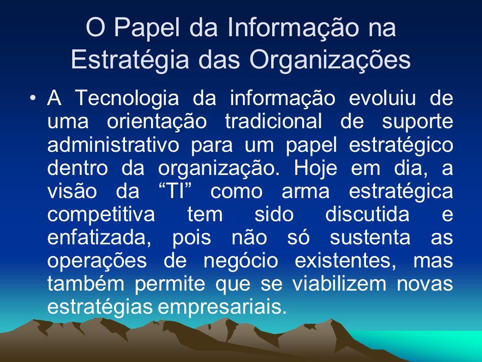 O Papel da Informação na Estratégia das Organizações A Tecnologia da informação evoluiu de uma orientação tradicional de suporte administrativo para u