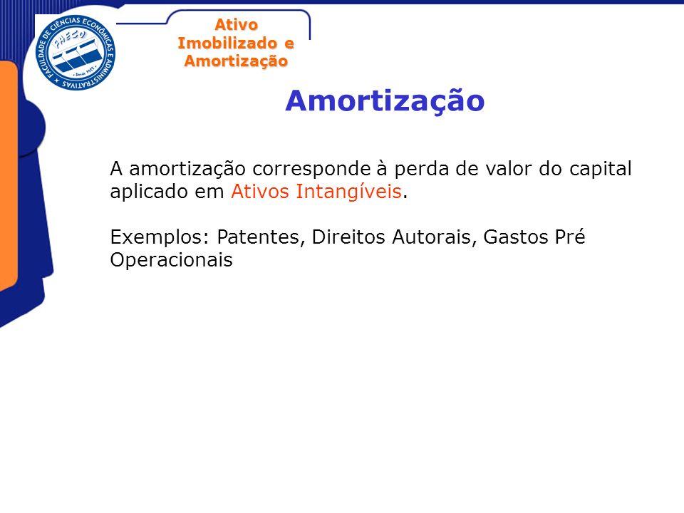 Ativo Imobilizado e Amortização Amortização A amortização corresponde à perda de valor do capital aplicado em Ativos Intangíveis. Exemplos: Patentes,